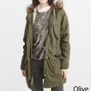 Abercrombie & Fitch Sherpa Lined Twill Parka